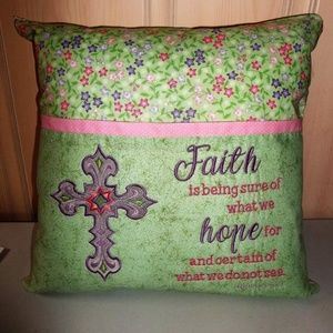 Pocket Reading Pillow Faith Bible Embroidered